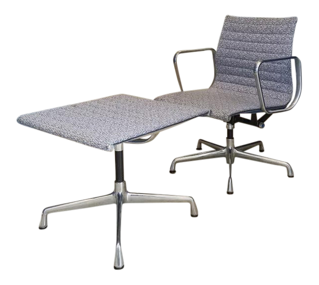 1960s Minimalist Herman Miller Eames Aluminum Group Lounge Chair And  Ottoman   2 Pieces For Sale