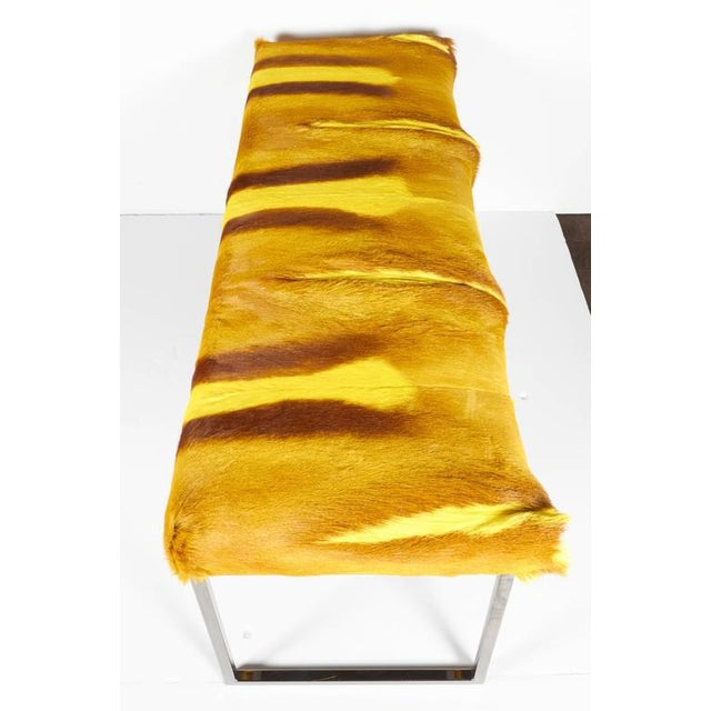 African Exotic Springbok Fur Bench in Vibrant Hues of Yellow For Sale - Image 3 of 9