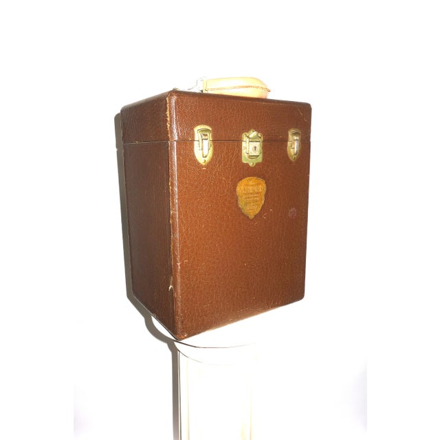 1940s Cinema Projection Equipment Carry Case Box Circa 1940s. Made By Ampro Projector Company. Rare Embossed Emblem Case. For Sale - Image 5 of 5