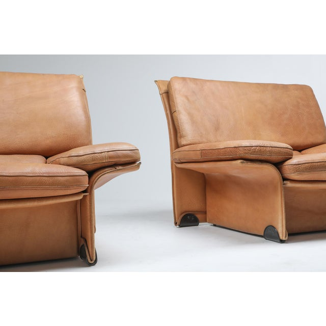 Thick Camel Leather Club Chairs by Titiana Ammanati & Giampiero Vitelli for Brunati - 1970s For Sale - Image 9 of 12