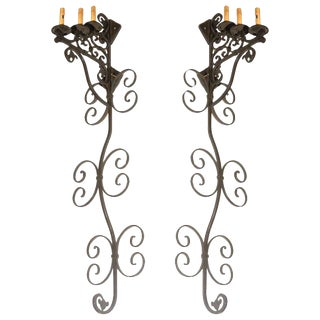 Large Spanish Wrought Iron Wall Sconces With Three Lights - Set of 3 For Sale