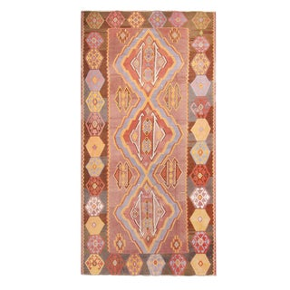 "1930s Vintage Mid-Century Geometric Pink and Yellow Wool Kilim Rug-7'3'x13'10"" For Sale"