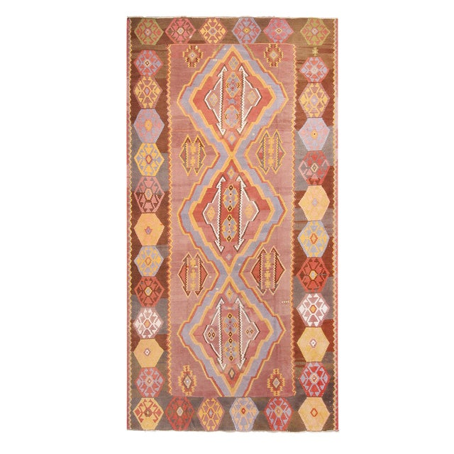 """1930s Vintage Mid-Century Geometric Pink and Yellow Wool Kilim Rug-7'3'x13'10"""" For Sale"""