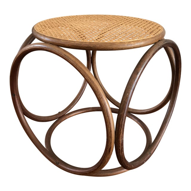 Vintage Bentwood and Cane Ottoman - Image 1 of 5