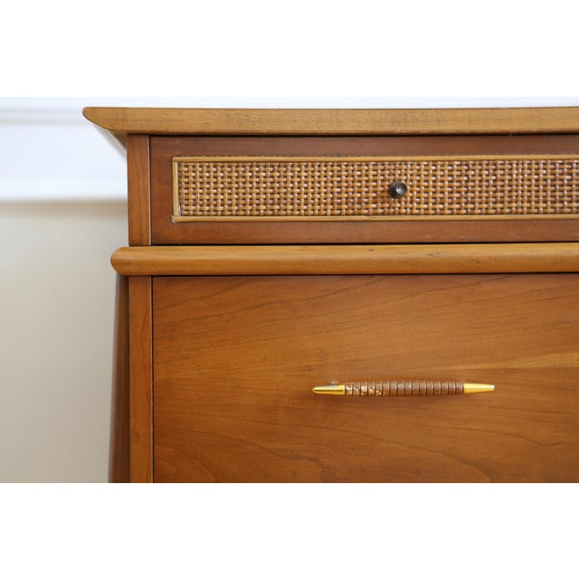 Mid Century Danish Modern Cane Writing Desk For Sale In Los Angeles - Image 6 of 9