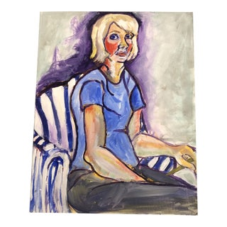"""Original Vintage Female Portrait Painting """"As Alice Neel"""" by Courtney Barring For Sale"""