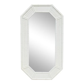 Vintage White Rattan and Faux Bamboo Wall Mirror For Sale