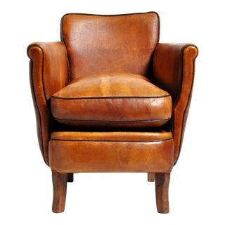 Parisian Brown Leather Armchair For Sale