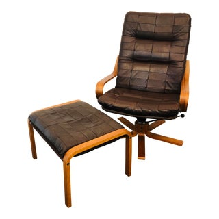 Vintage Mid-Century Westnofa Teak and Leather Chair and Ottoman For Sale