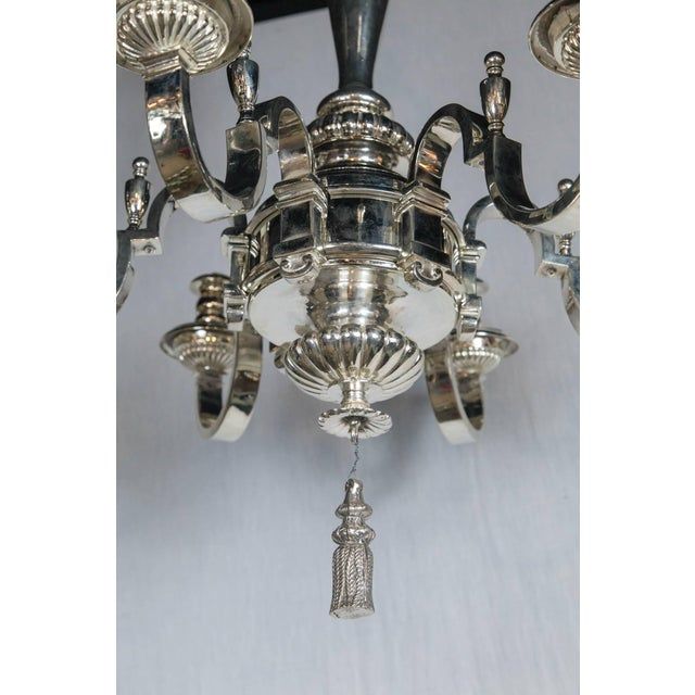 1920s Caldwell Silver Plated Six-Light Chandelier For Sale - Image 5 of 7