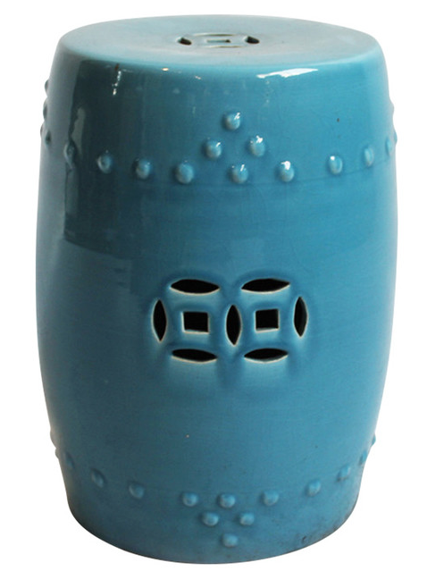 Painted Blue Ceramic Garden Stool Chairish