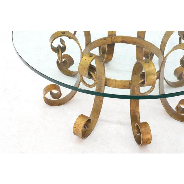 Hollywood Regency Round Decorative Gilt Wrought Iron Base Glass Top Sunburst Coffee Table For Sale - Image 3 of 13