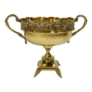 Grape Motif Footed Brass Compote With Exaggerated Handles For Sale