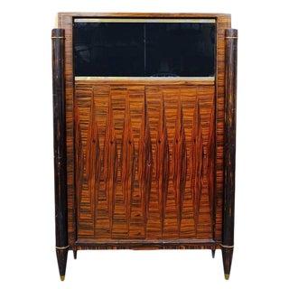 French High Style Art Deco Macassar Ebony Vitrine Cabinet For Sale