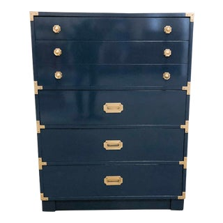 Drexel Campaign Navy High Gloss Lacquer Oak Highboy Chest For Sale