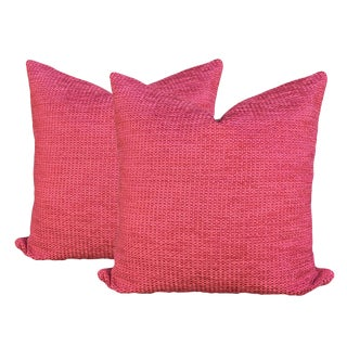 Transitional Magenta Chenille Pillows - a Pair For Sale