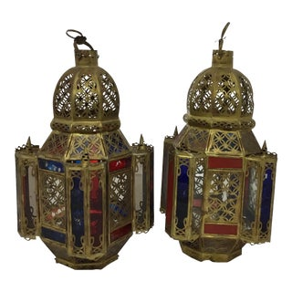 Vintage Moroccan Hanging Lanterns - A Pair For Sale