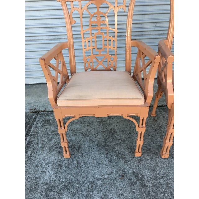 Asian Vintage Fretwork Chinese Chippendale Dining Chairs - Set of 5 For Sale - Image 3 of 13