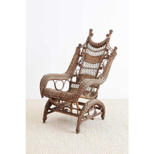 Art Nouveau 19th Century Heywood Wakefield Wicker Platform Rocker For Sale - Image 3 of 13
