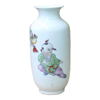 Chinese Distressed Off White Porcelain Children Scenery Vase For Sale