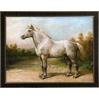 Boulon Horse by Eerelman Framed in Italian Wood Vener Moulding For Sale