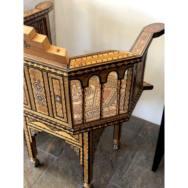 1940s Vintage Marquetry Vintage Hand Crafted Moorish Style Chair For Sale - Image 4 of 9