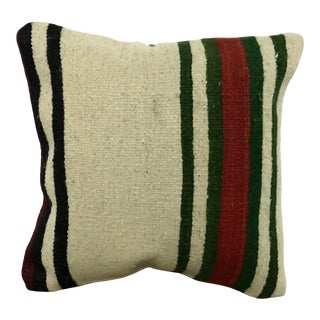 Vintage Natural Turkish Kilim White and Red Pillow Cover For Sale