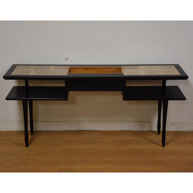Mid-Century Modern Black Lacquered Tile Planter Console For Sale - Image 3 of 9