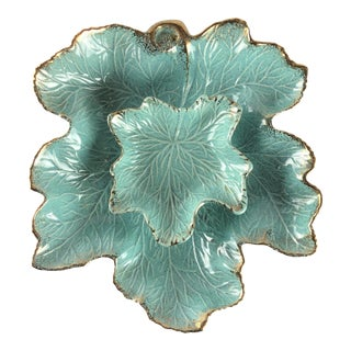 Vintage Gold Trimmed Turquoise California Originals Leaf Bowl Set - 2 Pc. For Sale