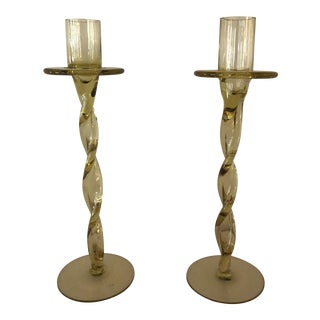 Vintage Hand Blown Amber Glass Candlesticks - a Pair For Sale