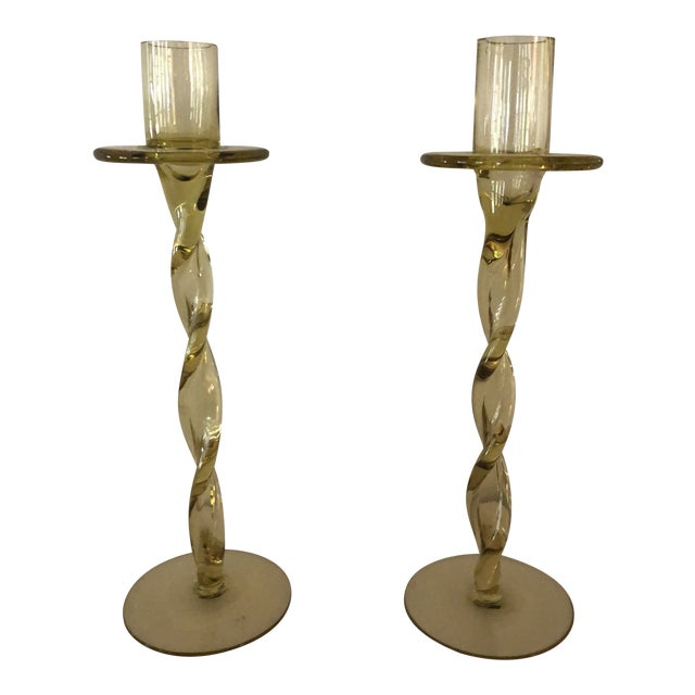 Image of Vintage Hand Blown Amber Glass Candlesticks - a Pair