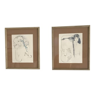 Vintage Framed Bamboo Female Sketches - A Pair