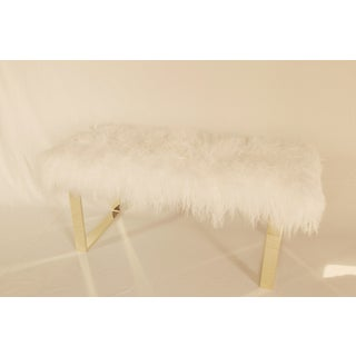 "Warm White Curly BeBe 48"" Brass Bench Preview"