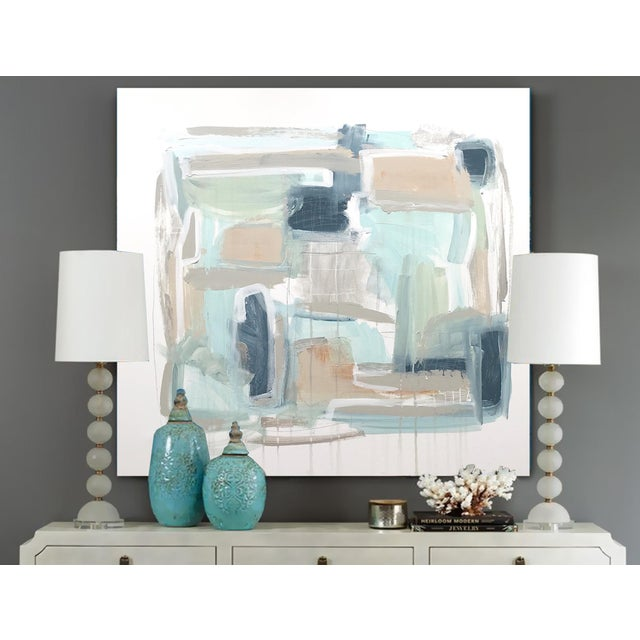 Soft and gestural with a cool, summery palette of blues, greens, neutrals and metallic silver. As with most of my work,...