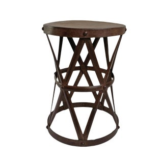 Vintage Iron X Rivet Side Table For Sale