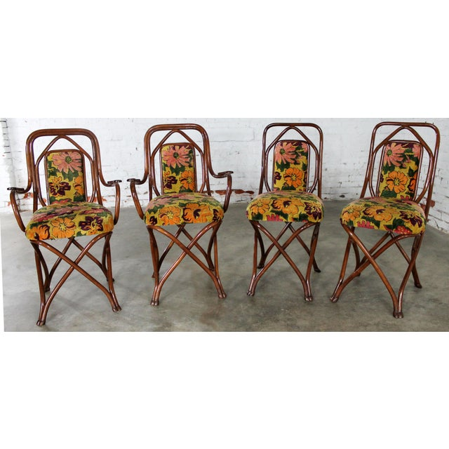 Green Antique Gebruder Thonet Bentwood Chairs - Set of 4 For Sale - Image 8 of 11