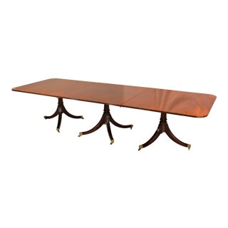 George III Mahogany Three Pedestal Extendable Dining Table For Sale