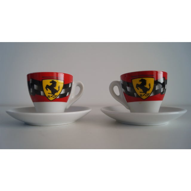 Beautiful with simple elegance expresso cups with dishes. Stallion design on the front and back of the cups. Comes as a pair.