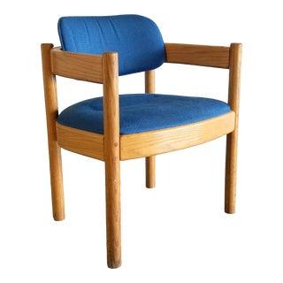 Vintage Thonet Blonde Oak Wood Barrel U-Shaped Chair For Sale