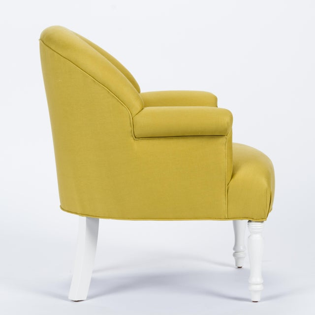 French Casa Cosima Napoleon III Chair in Citron Linen, a Pair For Sale - Image 3 of 9