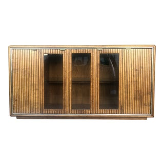 1980s Mirror Top Burled Walnut Display Cabinet by American of Martinsville For Sale