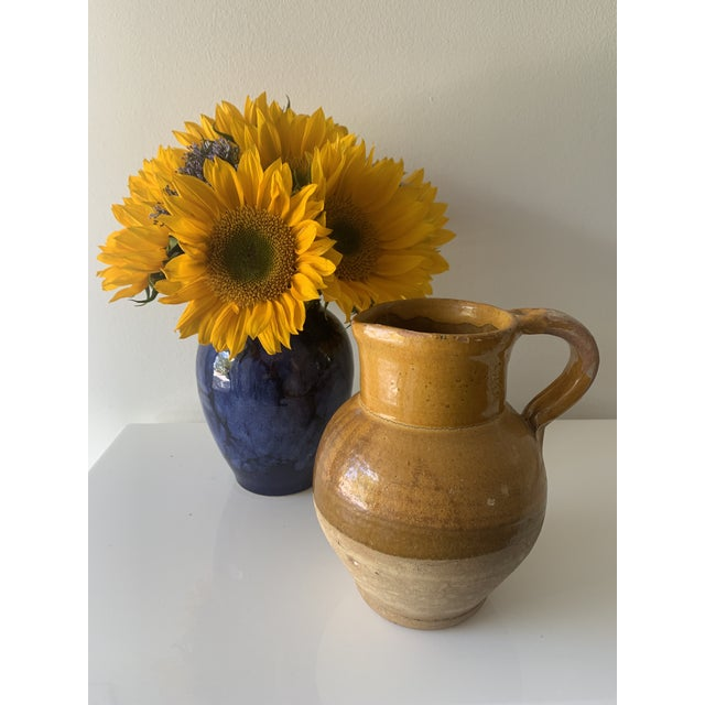 Late 19th Century French Earthenware Pitcher With Yellow Glaze For Sale - Image 9 of 10