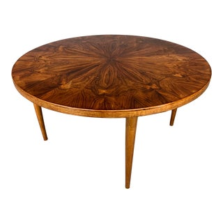 Danish Modern Figured Grain Rosewood Round Coffee Table by Edvard Valentinsen For Sale