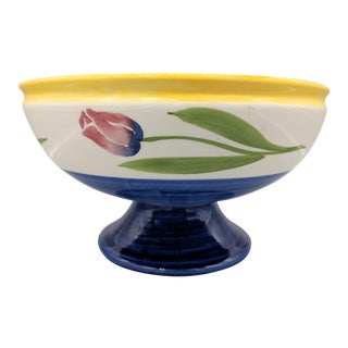 1980s Vintage Papel Hand Painted Portuguese Tulip White and Blue Footed Fruit Bowl