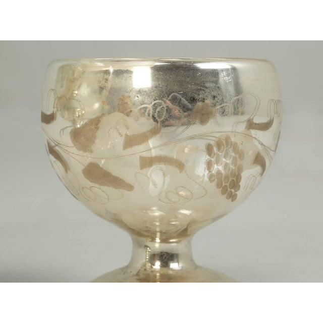 Silver Vintage Mercury Glass Compote with Etched Grapes For Sale - Image 8 of 10