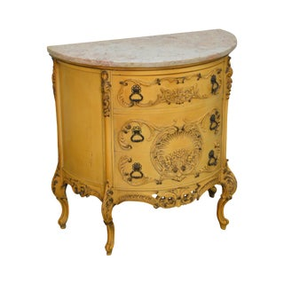 Vintage Painted Demilune Marble Top Rococo Style Commode Chest For Sale