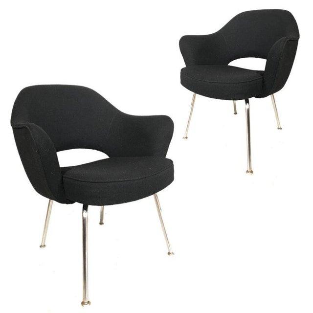 Mid-Century Modern Knoll Eero Saarinen Executive Armchairs in Knoll Black Upholstery For Sale - Image 3 of 6