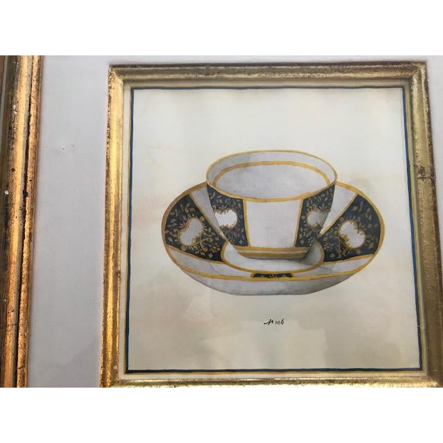 Wood Trowbridge Gallery Numbered Teacup Square Prints in Gilt Frames - Set of 4 For Sale - Image 7 of 13