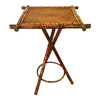 Late 19th Century English Bamboo & Cane Side Table For Sale