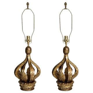 Italian Gilt Wood Crown Table Lamps, A-Pair For Sale